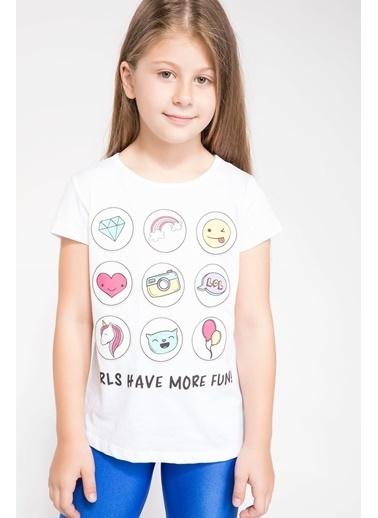 DeFacto Baskılı T-shirt Beyaz